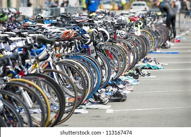 bicycle waiting at triathlon