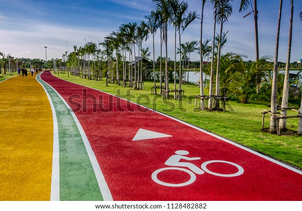 Bicycle way for bike, path at the park,have Bicycle symbol.