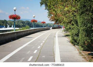 Bicycle way on Danube embankment in Bratislava, Slovakia.