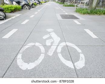 Bicycle way in sidewalk