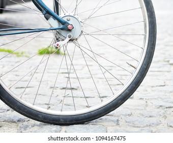 Bicycle wheel close-up. Free space. Detail. Bike