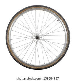 Bicycle wheel isolated on white background