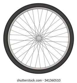 Bicycle wheel isolated on a white background