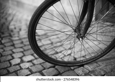 Bicycle Wheel on a Cobbled Street in Copenhagen