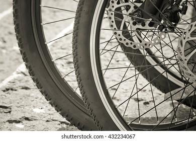 Bicycle wheel on road