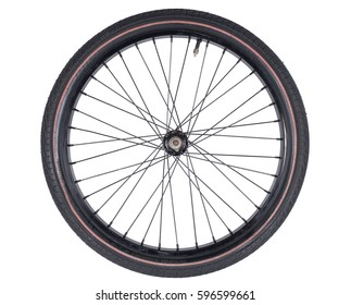 bicycle wheel set isolated on white background, consisting of spokes, tire and bearing system with some metallic gears