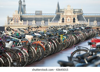 Bicycles in Amsterdam in front of the central station