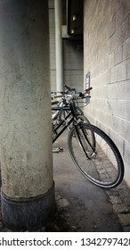 Bicycles in the city. Bikes at ofice building. Commuter bikes in the city at office building.