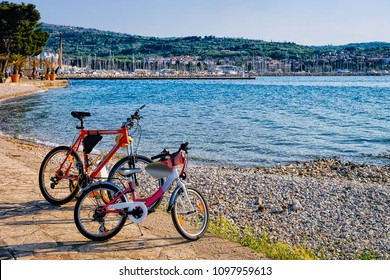 Bicycles at the embankment of the Adriatic Sea in Izola fishing village, Slovenia