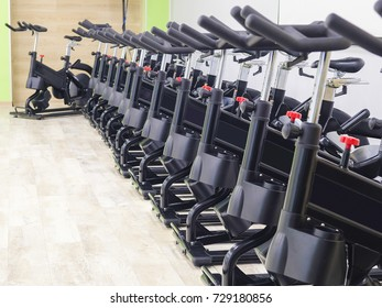Bicycles in a fitness hall