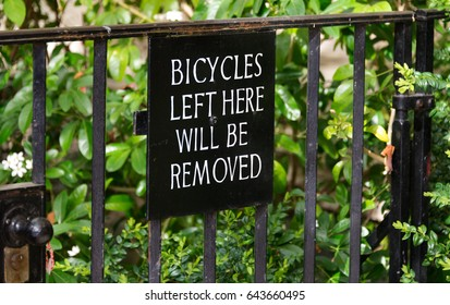 Bicycles Left Here Will Be Removed