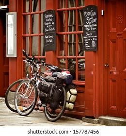 Bicycles on the British pub, Durham, United Kingdom