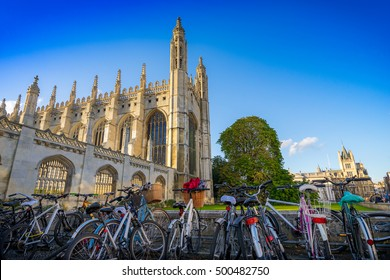 Bicycles on the foreground and Kings Collage, Cambridge, UK on the background at sunny day.