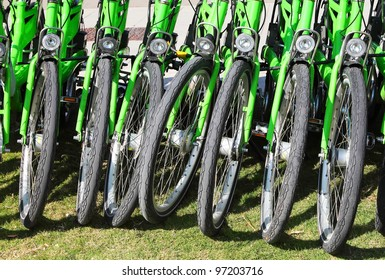 Bicycles on parking - abstract in green