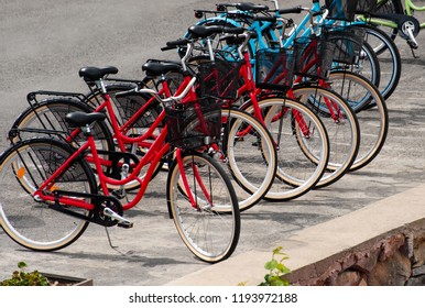 Bicycles on Stockholm`s street