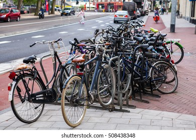 A lot of bicycles on street parking in Amsterdam.. July 29, 2013.