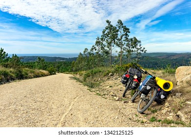 Bicycles on top of a hill on the way of St. Jacob to Finisterre to the Atlantic Coast. Galicia. Spain. Europe.