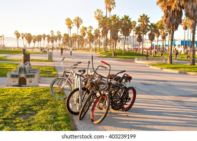 Bicycles on Venice Beach in Los Angeles California