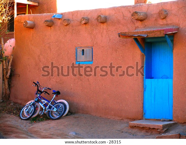 Bicycles on the wall.