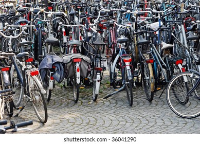 Bicycles Parked in Maastricht, Netherlands