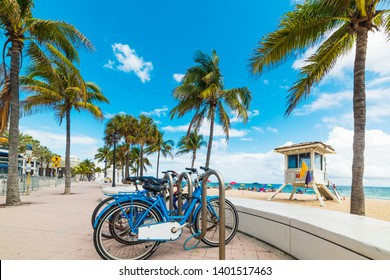 Bicycles parked on Fort Lauderdale seafront. Southnern Florida, USA