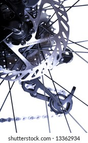 Bicycles Rear Wheel System with Brake Rotor in Focus