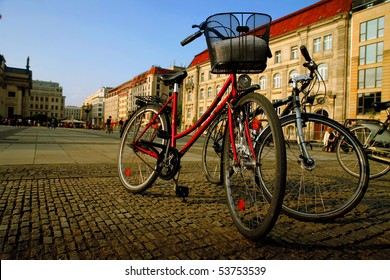 Bicycles standing on a street in Berlin