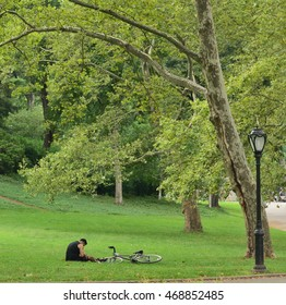 Bicycling in the park.
