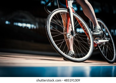Bicyclist at cycle track