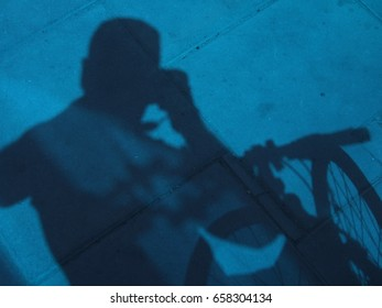 Bicyclist shadow beautiful