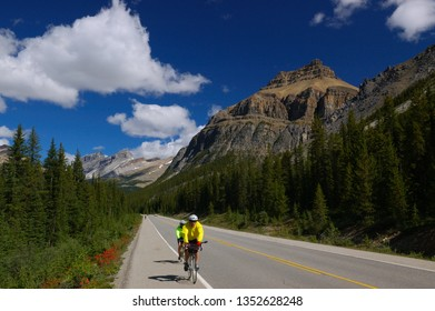 Bicyclists on the Icefields Parkway Banff National Park, Alberta, Canada - July 25, 2005