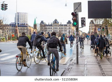 Bicyclists on road in Copenhagen. Denmark