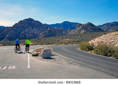 Bicyclists traveling in the  Mojave Desert.