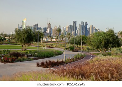 BIDDA PARK, Doha, Qatar - March 21, 2018: View of the newly opened Bidda Park in the centre of Qatar's capital,with flowerbeds and cycle track