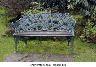 Biddulph Grange Gardens, Congleton, Cheshire, England: February 2017 - Ornate Bench