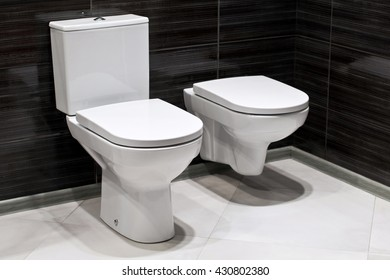 Bidet and toilet in the bathroom