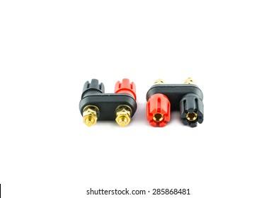 Biding post speaker connector on white background