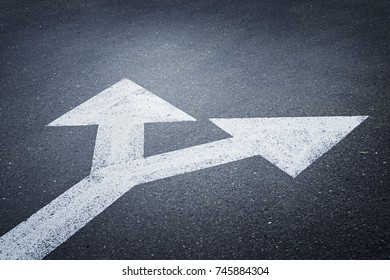 A bi-directional arrow symbol on an asphalt road for the concept of choice