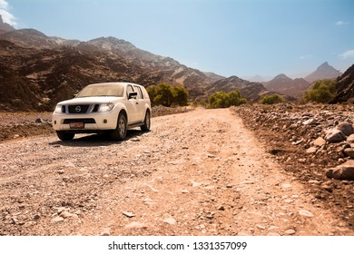 Bidiyah, Oman - November 5, 2018:Off-road vehicle on the Jebel Shams mountains (Oman)