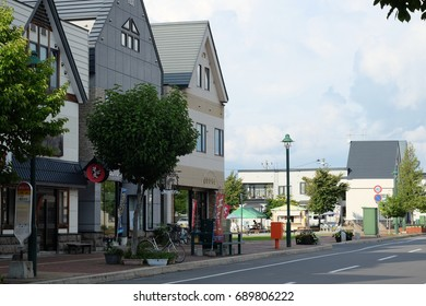 BIEI TOWN, JAPAN - SEPTEMBER, 2016: Houses and shops on the street of Biei city. Biei is a small town located between Asahikawa and Furano in Hokkaido, Japan.
