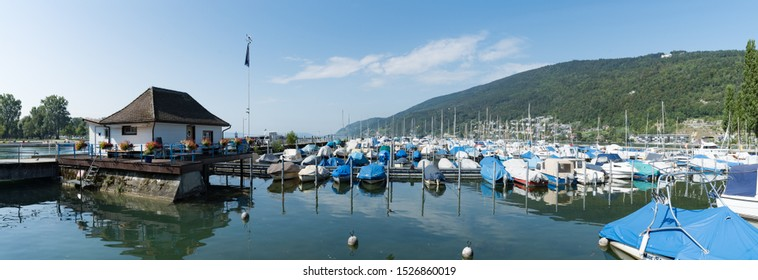 Biel, BE / Switzerland - 28 August 2019: panorama view of the boat school and harbor on Lake Biel in Switzerland
