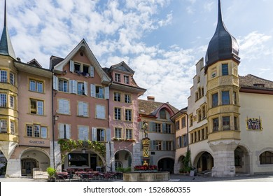 Biel, BE / Switzerland - 28 August 2019: view of the Ring Square and the Vennerbrunnen Fountain in the historic old town of Biel