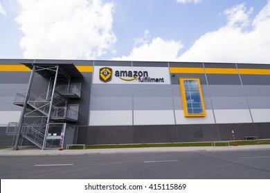 BIELANY, POLAND - MAY 04, 2016: The newly opened warehouse of retailer amazon.com. on 04 may, 2016 in Bielany near Wroclaw, Poland.