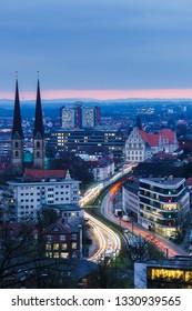 Bielefeld Cityscape, Blue Hour, Portrait Orientated