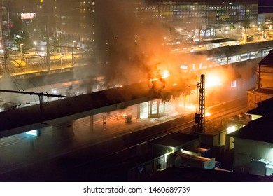 BIELEFELD, GERMANY - 25. JULI 2019: big fire at Bielefeld main station, track is burning, a massive plume of smoke billowing from the fire