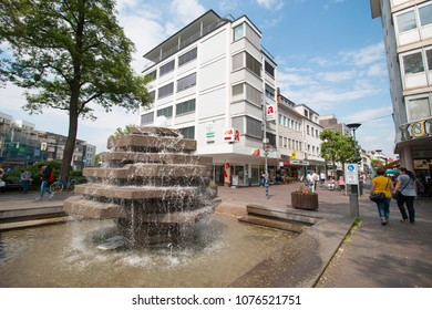 BIELEFELD, GERMANY - MAY 31, 2017: Unidentified people walking and shopping on shopping street in BIELEFELD, GERMANY