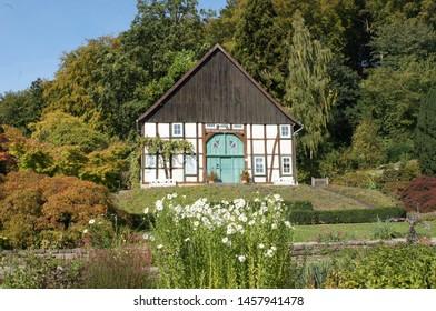 Bielefeld, half-timbered house in the botanic garden, North Rhine-Westphalia, Germany house in the botanical garden.