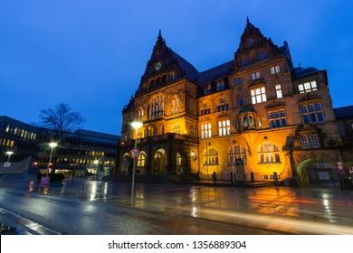 Bielefeld, Nordrhein Westfalen/Deutschland - December 17th 2018 Old City Hall Bielefeld at Night