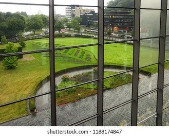 BIELEFELD, NORTH RHIJN WESTFALEN / GERMANY – JULY 8 2015: View on garden and city centre from Dr. Dr. Oetker World.