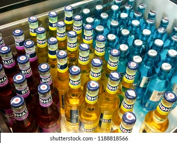 BIELEFELD, NORTH RHIJN WESTFALEN / GERMANY – JULY 8 2015: Bottle's with drinks during tasting food products by Dr. Oetker World.